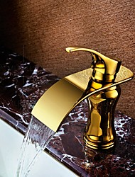 Gold Plated Deck Mounted Basin Sink Faucet Waterfall Spout  Single Handle One Hole Mixer Taps Contemporary