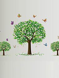 cheap -Leisure Romance Pink Flower Three Tree Butterfly Wall Stickers Living Room Bedroom Wall Art Environmental Wall Decals