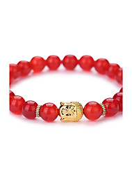 cheap -New Arrival Nature Agate Buddha Head Bead Bracelet #YMGS1011