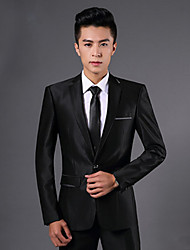 cheap -Black Solid Colored Slim Fit Polyester Suit - Notch Single Breasted One-button / Suits