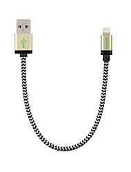 Lightning Kabel Opladerkabel Opladerledning Data & Synkronisering Flettet Kabel Til Apple iPhone iPad 20 cm Nylon