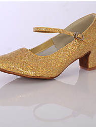 cheap -Women's Latin Shoes Sparkling Glitter / Satin Heel Indoor Sparkling Glitter Chunky Heel Customizable Dance Shoes Silver / Golden