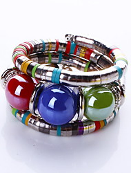 Bohemia Style Acrylic Beads Strand Bangle Bracelet (1 Set) Jewelry Christmas Gifts