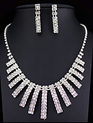 cheap -Clear Jewelry Set - Rhinestone Fashion, Bridal Include Silver For Wedding Party Special Occasion / Earrings / Necklace