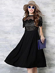 MAXLINDY Women's Lace Going out Cute / Sophisticated A Line / Lace Dress,Solid / Patchwork Stand Knee-length Short Sleeve Black Cotton / Polyester