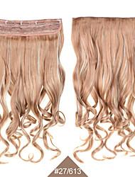 お買い得  -金髪24」(60センチメートル)120グラム#613分の27長い波状カーリーsynthetichairはヘアエクステンション5clips熱抵抗力が最低価格でクリップを編みます