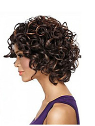 cheap -Afro Hair Short Kinky Curly Wig African American Wig Fiber Dark Brown Color