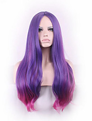 Sexy Long Slightly Curly Purple Red Ombre Cosplay Central Parting Women Wig Girl Gift