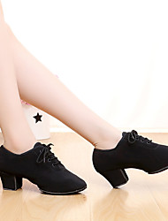 cheap -Women's Latin Shoes / Dance Sneakers Satin Heel Lace-up Chunky Heel Customizable Dance Shoes Black / Indoor / Performance