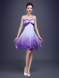 A-Line One Shoulder Knee Length Chiffon Cocktail Party Prom Dress with Crystal Detailing
