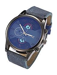 Men's Black Case Black/Coffee PU Denim Band Dress Wrist Watch Fashion Watch Cool Watches Unique Watches