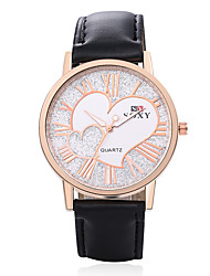 cheap -Women's Fashion Round Leather Wristwatches Glass Analog Love Heart Casual Style Quartz Watch