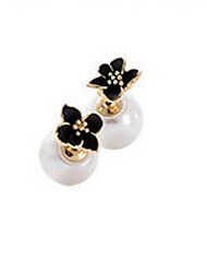 Imitation Pearl Alloy Fashion Flower White Black Jewelry Wedding Party Daily Casual Sports 1 pair