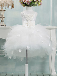 cheap -Ball Gown Asymmetrical Flower Girl Dress - Tulle Sleeveless Spaghetti Straps with Bow(s) by LAN TING Express