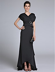 Sheath / Column V-neck Sweep / Brush Train Chiffon Mother of the Bride Dress with Beading Criss Cross by LAN TING BRIDE®