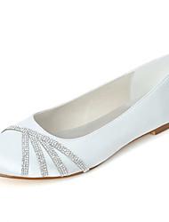 baratos -Mulheres Sapatos Cetim Primavera / Verão Bailarina Sapatos De Casamento Sem Salto Ponta Redonda Pedrarias Rosa claro / Champanhe / Ivory