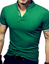 cheap -Men's Sports Plus Size Cotton Slim T-shirt - Solid Colored Stand