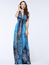 cheap -Sweet Curve Women's Plus Size Boho Swing Dress Pleated Print High Rise Maxi Deep V
