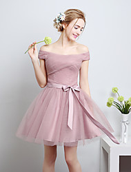 A-Line Off-the-shoulder Knee Length Satin Tulle Bridesmaid Dress with Bow by QQC Bridal
