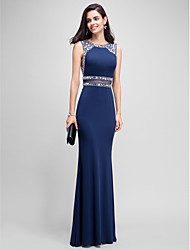 Mermaid / Trumpet Jewel Neck Floor Length Jersey Formal Evening Dress with Beading by TS Couture®