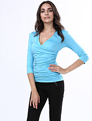 cheap -Wild Slim Women's Sexy Deep V 3/4 Sleeve Blue / Black / Purple T-Shirt Blouse Tops