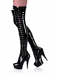 cheap -Women's Shoes Patent Leather Fall / Winter Fashion Boots / Light Up Shoes / Club Shoes Boots Stiletto Heel / Platform Over The Knee Boots
