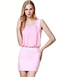 Damen Hülle Kleid-Ausgehen Einfach Solide Rundhalsausschnitt Mini Ärmellos Blau / Rosa / Weiß Polyester Sommer