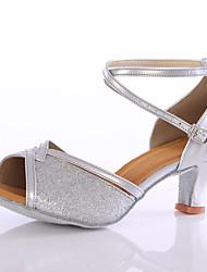 cheap -Women's Latin Shoes Sparkling Glitter Heel Sparkling Glitter Customized Heel Customizable Dance Shoes Blue / Pink / Golden / Indoor