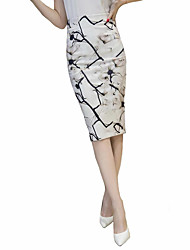 cheap -Women's Plus Size Going out Knee Length Skirts, Sexy Street chic Bodycon Cotton Summer