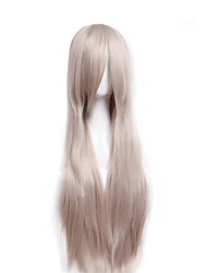 Cheap Price high temperature Grey Color Synthetic cosplay wig 80cm Young Long straight wigs