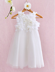 Ball Gown Knee Length Flower Girl Dress - Tulle Sleeveless Jewel Neck by LAN TING BRIDE®