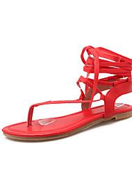 baratos -Feminino Para Meninas Gladiador Courino Primavera Verão Outono Casual Social Gladiador Cadarço Vazados Rasteiro Preto Bege Vermelho