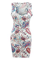 Damen Hülle Kleid-Lässig/Alltäglich Boho Druck U-Ausschnitt Mini Ärmellos Weiß Polyester Sommer