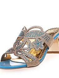 お買い得  -女性用 靴 レザーレット 夏 チャンキーヒール / ブロックヒール クリスタル ブルー / ゴールデン