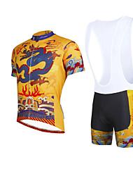 Недорогие -ILPALADINO Муж. С короткими рукавами Велокофты и велошорты-комбинезоны - Желтый Велоспорт Велошорты Джерси Наборы одежды Дышащий 3D / Быстровысыхающий / Эластичная / Шоссейные велосипеды / 3D-панель