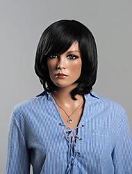 moderne schwarze Haare menschliche wellige schulterlang Perücken