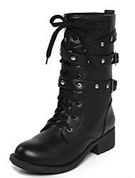 Недорогие -Жен. Обувь Полиуретан Зима Армейские ботинки Ботинки На низком каблуке 20.32-25.4 cm / Сапоги до середины икры Заклепки Черный