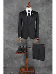 cheap -Black Solid Tailored Fit Polyester Suit - Peak Single Breasted One-button
