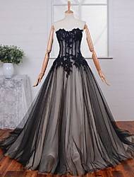 A-Line Princess Sweetheart Sweep / Brush Train Lace Tulle Formal Evening Dress with Appliques Lace by MYF
