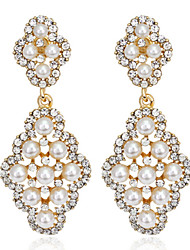 cheap -Gold Pearl Exqusite Quality Silver AAA Zircon Crystal Drop Earrings for Lady Wedding Party