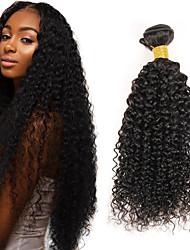 Недорогие -3 Связки Индийские волосы Афро / Kinky Curly Не подвергавшиеся окрашиванию Человека ткет Волосы 8-26 дюймовый Ткет человеческих волос Пролить бесплатно / Tangle Free / Толстый конец волос