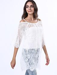 Women's Lace White Strap Lace Shirt,Lace/Cotton Blends Short Sleeve