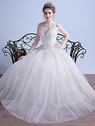 cheap -Ball Gown V-neck Floor Length Tulle Wedding Dress with Beading Appliques by LAN TING BRIDE®