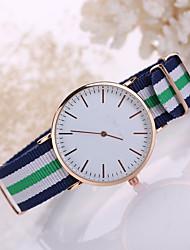 Korean Style Fabric Band White Case Analog Quartz Watch Jewelry for Men/Women