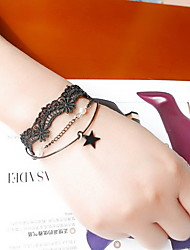 cheap -Black Lace Tatoo Fabric Wrap Bracelet with Star Pendant Charm Bracelet Christmas Gifts