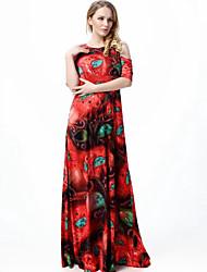 cheap -Women's Plus Size Boho Swing Dress Print High Rise Maxi