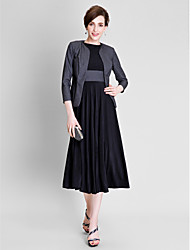 cheap -A-Line Jewel Neck Tea Length Polyester / Jersey Mother of the Bride Dress with Sash / Ribbon / Pleats by LAN TING BRIDE®