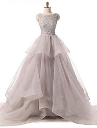 Ball Gown Scoop Neck Court Train Organza Formal Evening Dress with Cascading Ruffles Sequins by Shang Shang Xi