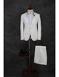 cheap -White Solid Tailored Fit Polyester Suit - Notch Single Breasted One-button
