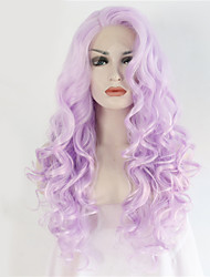 cheap -2 Tones Synthetic Lace Front Wigs Purple Color Wavy Wig Top Quality